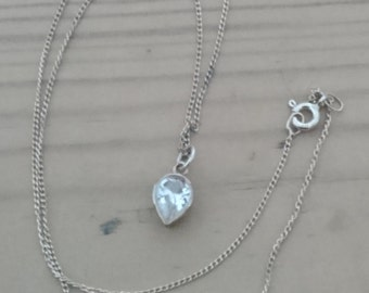 Vintage sterling silver cz drop pendant and chain
