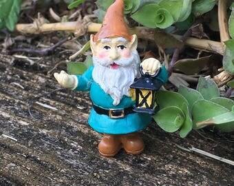 Small Gnome Figurine, Fairy Garden Accessory, Miniature Gnome with Lantern