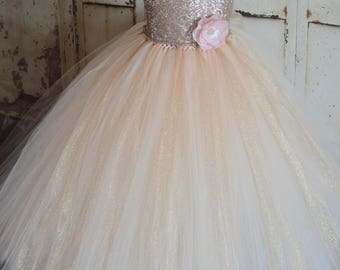 sequence gold and blush corset back flower girl tutu dress