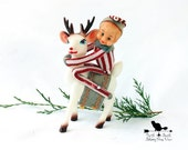 Reserved for Amy -Vintage Knee Hugger Elves on Soft Plastic Hand Painted  Reindeer, Christmas Kitsch Figurines, Retro Xmas Decor 211B