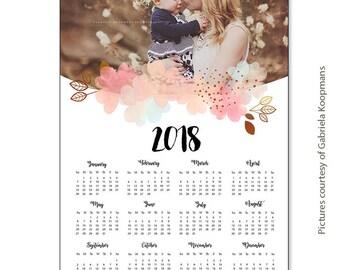 INSTANT DOWNLOAD - 12x18 Calendar template 2018 - CAL024