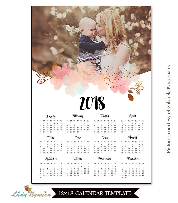 INSTANT DOWNLOAD 12x18 Calendar template 2018 CAL024