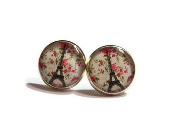 EIFFEL TOWER EARRINGS - French Earrings - Paris Jewelry - pink flowers earrings - Paris Love - Paris Earrings - Travel Gift - French Gift