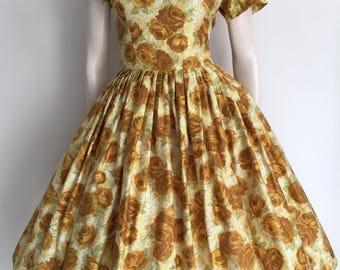 Beautiful 50's Yellow Rose Cotton Party Dress / Bombshell / Medium Large