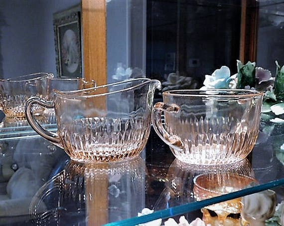 Pink Depression Glass 1930s Sugar Bowl Creamer Set Old Colony Lace Edge Vintage Kitchen Decor Cottage Home Wedding Table Decoration House