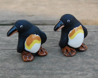 LEPS Penguin Pair - LEPS Peru Clay Pottery Penguins - Pottery Penguin Figurines - Peruvian Pottery Animals - Penguin Clay Figurines