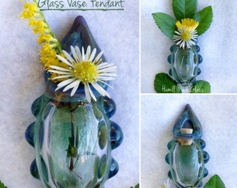 Blue Glass Vase Or Bottle Pendant Or Necklace; Handblown Glass; Wearable Vase; OOAK Jewelry; Mother's Day Gift