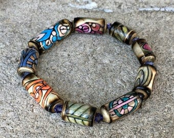 Paper Bead Bracelet - Zentangle Style