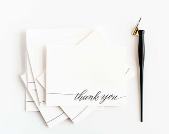 Thank You - Box of 6 Letterpress Calligraphy Greeting Cards