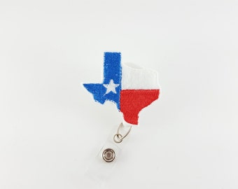 State of Texas - Felt Badge Reel - RN Badge Holder - Retractable ID Badge - Nurse Badge Reel - Name Badge Clip - Teacher ID Holder - Flag