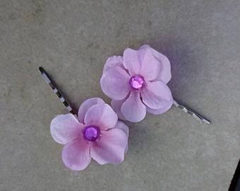 Pink Hydrangea Flower Hair Pins, Pink Hydrangea Bobby Pins, Pink Floral Pins, Hydrangea Hair Fasteners, Spring Wedding, Flower Girl F09