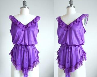 70s, 80s vintage lingerie - purple teddy lingerie bodysuit - 70s/80s Fill the Room lingerie
