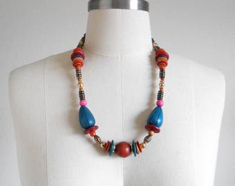 80s vintage necklace - wood bead necklace teal orange pink necklace - 80s Cross Country necklace
