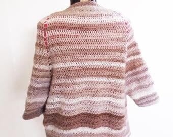 Crochet Cardigan Women - Open Cardigan Sweater - Crochet Womens Cardigan - Womens Crochet Tops - Womens Summer Cardigan - Beige Cardigan