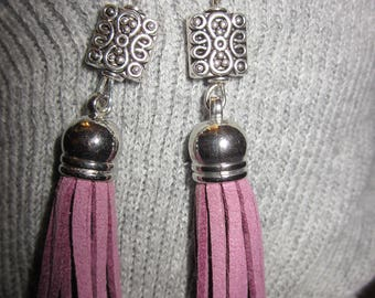 Tassel Collection-Lavender Tassels with Square Charm Earrings