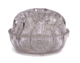 Vintage Glass Flower Frog. French Rose Bowl Glass Vase.
