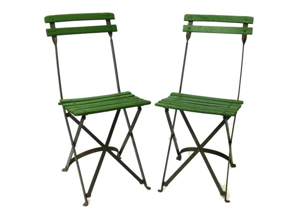 Pair Of Folding French Caf Chairs Vintage Green Bistro