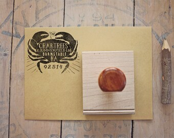 Crab Return Address Stamp - Custom Beach Wedding Invitation Rubber Stamp