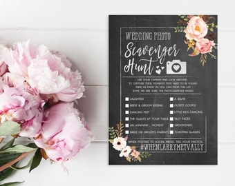Wedding Photo Scavenger Hunt - Printed I Spy Cards - Bridal Shower or Wedding Game - Chalkboard Rustic Floral