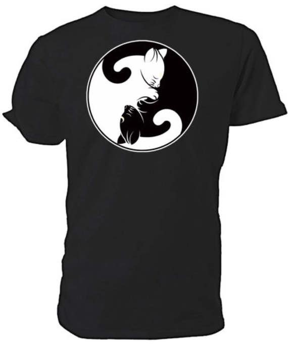 Yin Yang Cats T shirt. classic round neck short sleeved choice of sizes and colours,