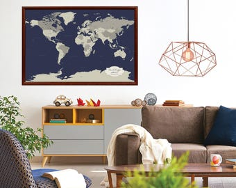 Best Cotton Anniversary Gift for him, World Map Push Pin, personalized World Map, Push Pin World Map, 2nd anniversary gift idea men, 24 x 36