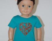 """Cheer Practice Outfit for American Girl 18"""" Dolls -Orange Chevron and Turquoise"""