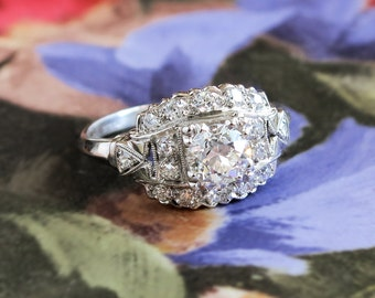 Art Deco Engagement Ring Vintage 1930's Old European Cut Diamond Engagement Wedding Anniversary Ring Platinum