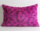 Pink Velvet Ikat Pillow Cover - Neon Pink Brown Modern Soft Decorative Velvet Ikat Pillow For Couch - Neon Pink Pillow - Pink Couch Pillow
