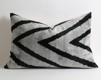 Throw pillows gray 16x24 Velvet Ikat Pillow Cover pillow chevron zigzag black gray couch pillows scandinavian design home accessories pillow