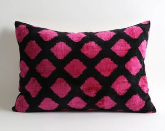 14x20 ikat velvet pillow cover pink black Soft handwoven hand dyed best quality fabrics