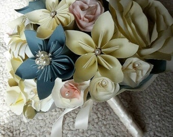 Stunning Bridal Bouquet in deep creams, teal blue and a hint of shell pink, paper flower wedding bouquet, origami bride bouquet, kudusama