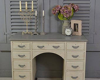 White & Grey Antique 9 Drawer Shabby Chic Desk - FREE UK DELIVERY