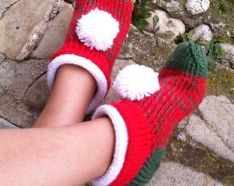 Knit Slippers, Christmas Shoes, Knit Elf Slippers, Knit Booties, Christmas Gift, Knitter Socks, Pom Pom