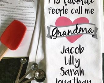 Grandma Gift, Grandma Christmas Gift, Tea Towel for Grandma, Gift for Grandma, Gift from Grandkids, Custom Tea Towel, Grandmother Gift