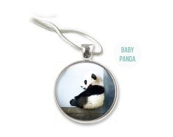 Panda Necklace - Panda Jewelry - Glass Panda Pendant (NP1)