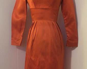 Vintage Silky Orange Wiggle Dress