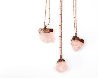 Rose Quartz crystal necklace | Electroformed crystal necklace | Raw crystal necklace | Rose Quartz crystal jewelry