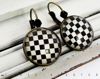Earrings, chessboard, steampunk, rockabella, pattern, black, white, checkered, glass, antique, bronze, vintage, fancy, nostalgic