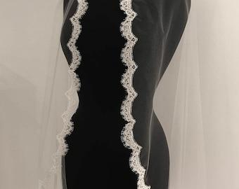 Mantilla Lace Veil, fingertip veil, Alencon lace veil, lace bridal veil, ivory lace veil, scallop lace veil, bridal accessories