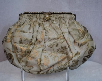 Vintage 1940s 1950s French silk metallic brocade evening bag purse