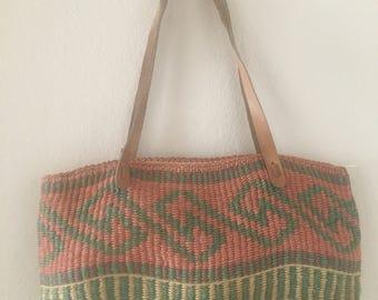 vintage 90's WOVEN MARKET BAG purse - zipped, tote bag