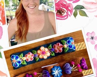Handwoven Hand Embroidered Floral Headband,Handmade with wool,Multicolored Peruvian Headband,My Peruvian Treasures,Fair Trade