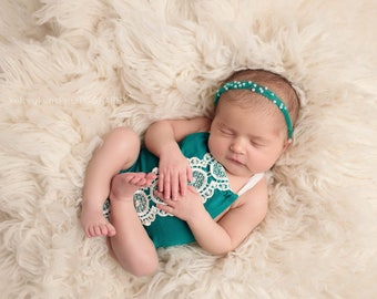 VEDA, NEWBORN ROMPER, Newborn Romper Set, Newborn Outfit, Tieback Headband, Mohair Headband, Photography Props, Newborn Props, Photo Props