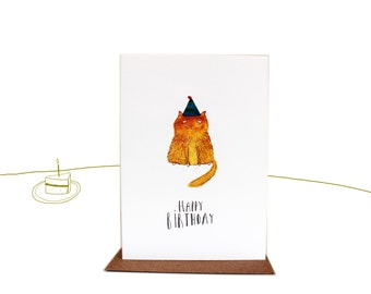 Happy Birthday Cat Greetings Card