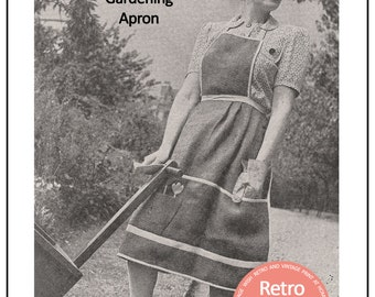 1940's Gardening Apron Pattern  - PDF Sewing Pattern - PDF Instant Download