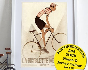 Vintage Style Cyclist, polka dot Jersey,  Bicycle, Bike, Bikes, Cycling Poster Wall Art Print Gift Home Décor, can be Personalised