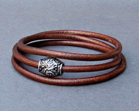 Mens Wrap Bracelet, Leather Mens Bracelet Cuff, Boyfriend Gift, Husband Gift, Customized To Your Wrist