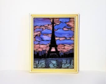 Mosaic Eiffel Tower Decor, Paris Artwork, French Artwork, Decorative Glass Art, Mosaic Glass Picture, Mosaic Window Art, French Teacher Gift