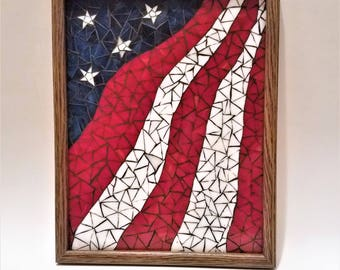 Framed Mosaic American Flag Art, Patriotic Wall Decor, Unique Stained Glass, 4th of July Art, Beautiful Mosaic Art, Stained Glass Panel