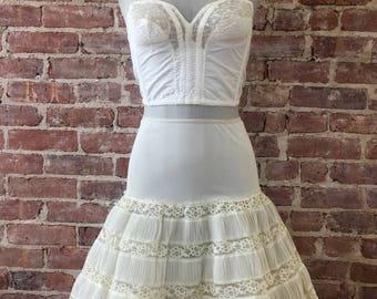 Ivory Petticoat - 1940s Romantic Crinoline - Wedding Petticoat - Lolita - Rockabilly - Pinup - Petti Slip